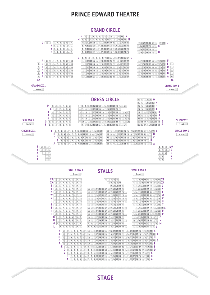 Seating Plan Of Prince Edward Theatre For Aladdin The Musical